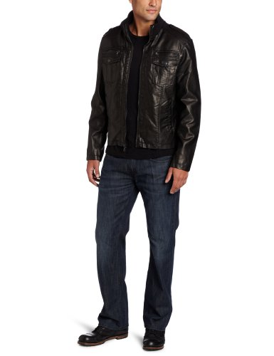 Kenneth Cole Men's Wet Faux Leather Bomber Jacket