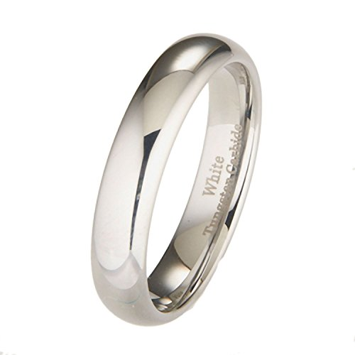 White Tungsten Carbide 5mm Polished Classic Wedding Ring Size 10.5