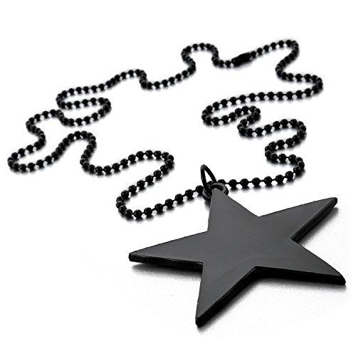 Kalendone Men's Star Pentagram Necklace,Pentagram Necklace for Women,Men (Black)