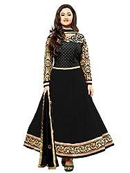 Varanga Black Faux georgette anarkali semi stitched salwar suits KFKAY21005