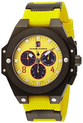 Chase-Durer Men's 779.4BYB Conquest Sport Chronograph Stainless Steel and Yellow Rubber Watch