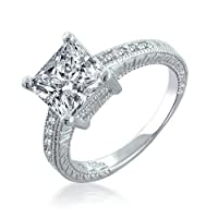 Bling Jewelry Sterling Silver 2.9ct Princess Cut CZ Engagement Ring from Bling Jewelry
