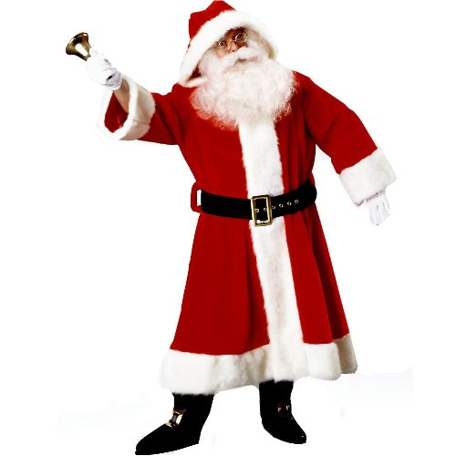 Old Time Santa Suit With Hood Costume Standard