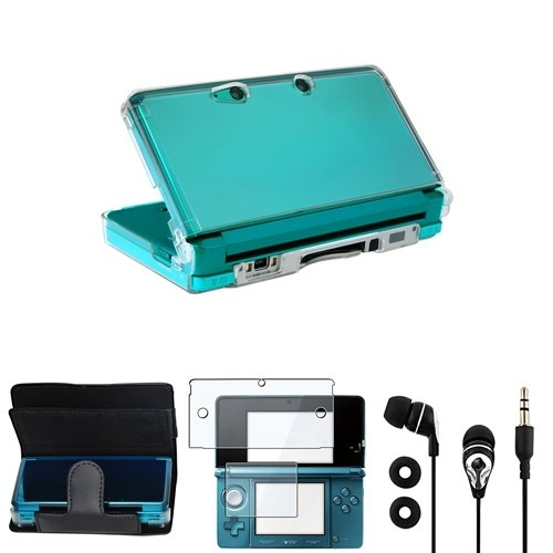 Commonbyte Black Leather+Clear Hard Case+2-Lcd Screen Protector+Earplug For Nintendo 3Ds
