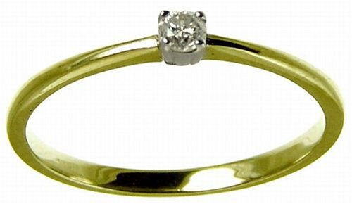 9ct Yellow Gold Diamond Engagement Ring With Round Brilliant Diamond Solitaire, 0.10 Carat Diamond Weight