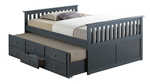 Broyhill Kids Marco Island Full Captain's Bed with Trundle, Gray (Full Captains Bed compare prices)