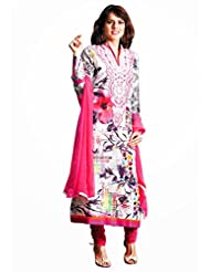 CHARMING Red Lawn Cotton Churidar Kameez, Semi Stitched, Free Size