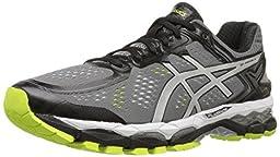 ASICS Men\'s Gel Kayano 22 Running Shoe, Charcoal/Silver/Lime, 10 M US