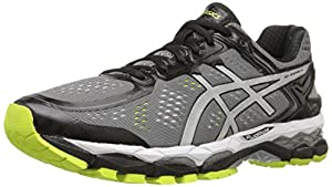 ASICS Men's Gel Kayano 22 Running Shoe, Charcoal/Silver/Lime, 12 M US