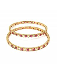 Jewelshingar Jewellery Gold Plated American Diamond Bangles For Women ( 13806-jb-ruby-p )