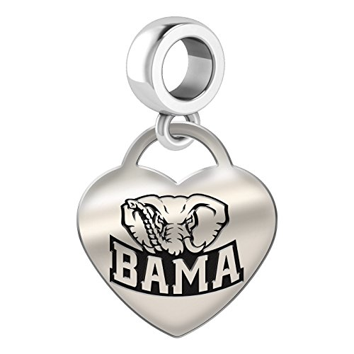 Alabama Crimson Tide Heart Dangle Charm Fits All European Style Bead Charm Bracelets