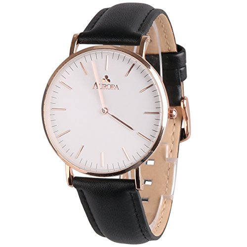 Aurora Women's Classic Steel Quartz Watch With Black Band (Gold) (Gold Black Dial Womens Watches compare prices)