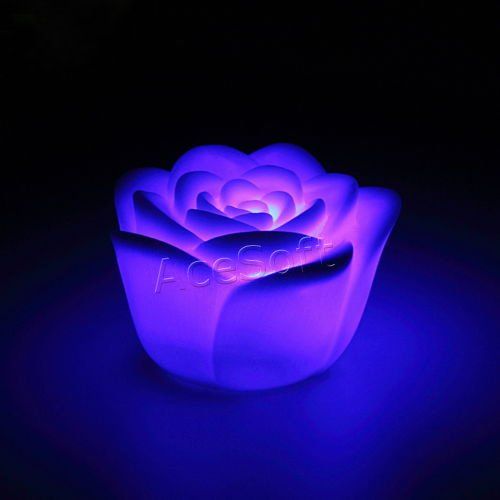 1Pcs 7 Colors Changing Rose Flower Led Light Night Candle Light Lamp Romantic Pvc Lamp Home/Party Hot Selling