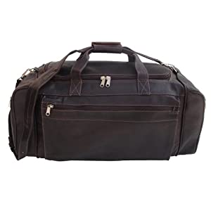 Piel Leather Large Duffel Bag, Chocolate, One Size from Piel Leather