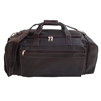 Piel Leather Large Duffel Bag in Chocolate