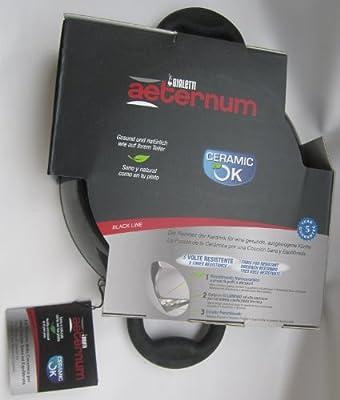 """Bialetti Aeternum: Skillet Ø 24 Cm (9½ """"), 2.7 L / 2.8 Qt - Ceramic OK Black Line [ Italian Import ]"""