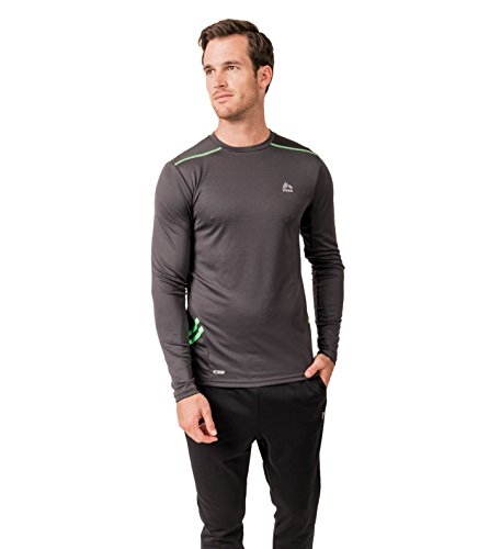 Rbx active men 39 s light breathable semi fitted crew neck for Lightweight breathable long sleeve shirts