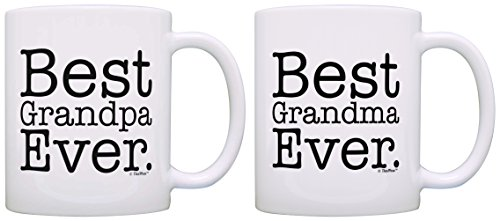 Best Grandma Grandpa Ever Grandparent Diamond Anniversary 2 Pack Gift Coffee Mugs Tea Cups White