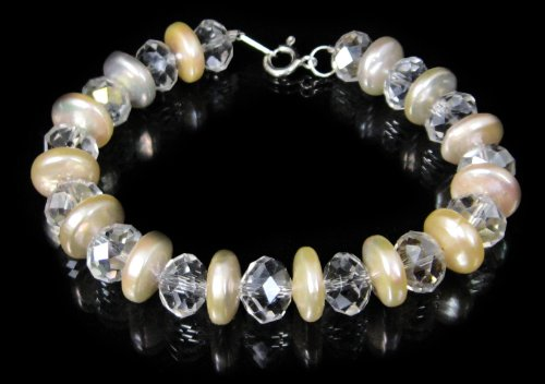 Freshwater Pearl and Clear Crystal Rondell Bracelet by Dragonheart – 20cm