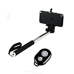 Skyleo Global Selfie Stick with an Universal Phone Holder and Wireless Remote Shutter works via a Free Application auto bluetooth sync via App . Feature to Toggle Between Front & Back Camera with a Click of a Button on the Remote (color may vary )