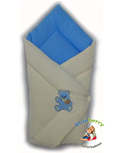 BlueberryShop Warm Thermo Terry for CAR SEAT Swaddle Wrap Blanket Sleeping Bag for Newborn, baby shower GIFT Cotton 0-3m ( 0-3m ) ( 78 x 78 cm ) Blue