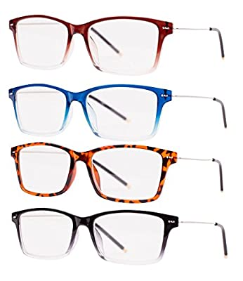 READING GLASSES Set of 4 Best Value Ultra Lightweight Reading Glasses Comfort Fashion Wayfarer Style Reading Glasses for Men and Women Pouch Included