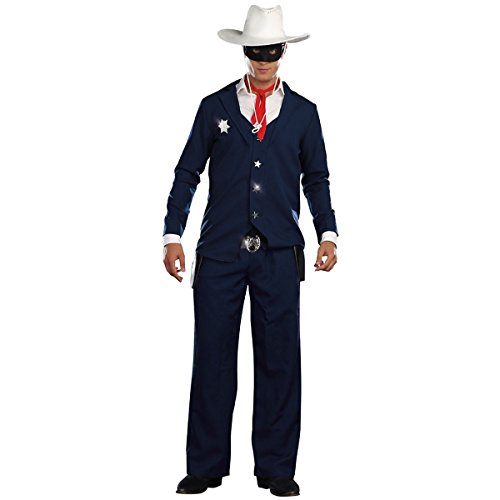GSG Lone Ranger Costume Adult Mens Cowboy Halloween Fancy Dress (Lone Cowboy Adult Costume)
