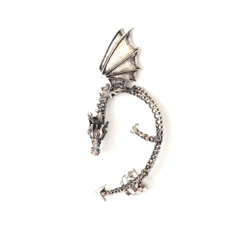 Dragon Earring Ear Cuff Metal Wrap Ancient Wyrm Silver Tone Fantasy Fashion Jewelry