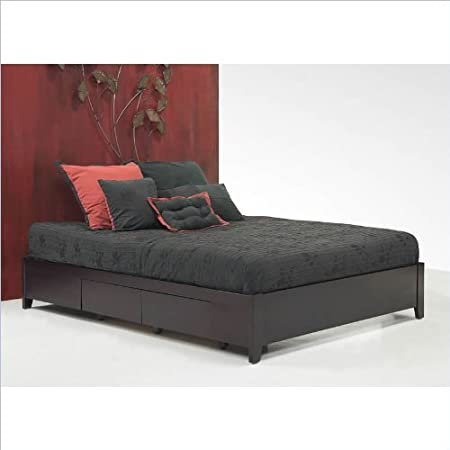 Modus Furniture Nevis Simple Platform Storage Bed in Espresso 2 Piece Bedroom Set