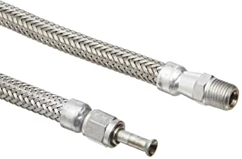 Hose Master Annuflex Stainless Steel 316 Flexible Metal Hose Assembly, Stainless Steel 316 Hex NPT Male x Stainless Steel 316 FJIC Swivel Couplings