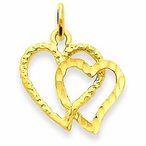 14k Double Heart Charm
