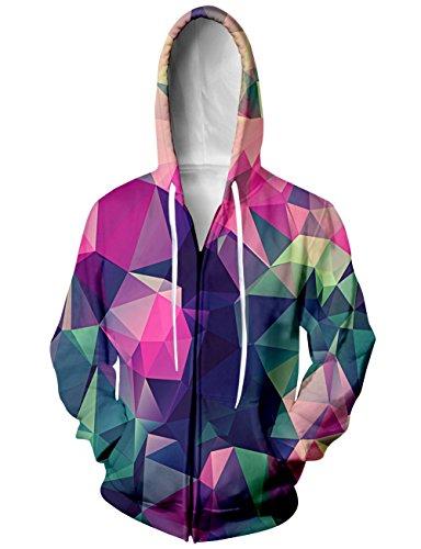 Bfustyle Geometrico Color Block Jersey Full Zip Felpa con cappuccio Giacca donna