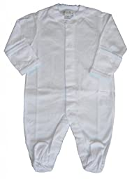 Kissy Kissy Baby Signature Footie-White with Blue-Newborn