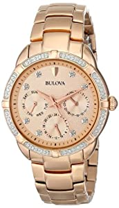 Bulova Watches Ladies Diamonds All Rose Gold Watch