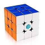 D-FantiX Gan 356 R 3x3 Speed Cube Stickerless Gans 356R 3x3x3 Magic Cube Puzzle GES V3 System Extra Bonus Blue Pouch (Color: Multi-color)