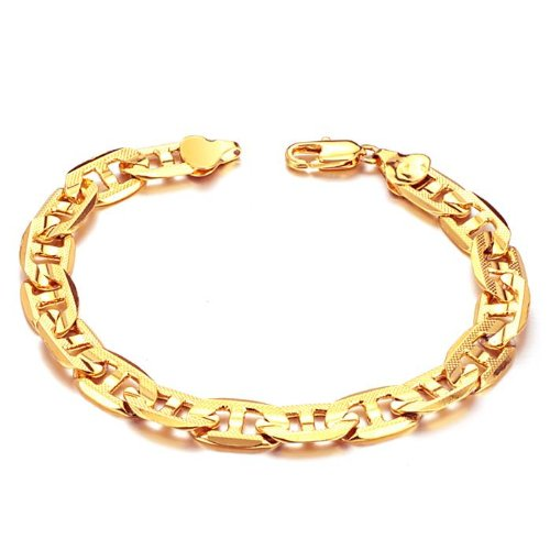 OPK South Korea Style New Fashion 18K Gold Plated Noble G-type Men's Bracelet Bangle No Fade Hand Chain Men's Jewellery Best Gift!