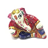 "1.5"" Rajasthani Handicraft Traditional Aluminum Relaxing Lord Ganesha Idol Featuring Meenakari Art Work"