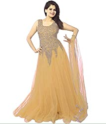 Pashimo Net Fabric Gown For Women ( Gowns with Dupatta _ Gown for Girls _ Gown for Women Party Wear ) (Light Brown)