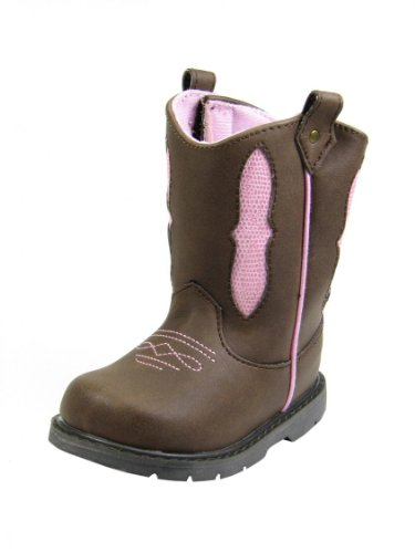 Baby Deer Ws Western Boot (Infant/Toddler/Little Kid),Brown/Pink,5 M Us Toddler front-37572