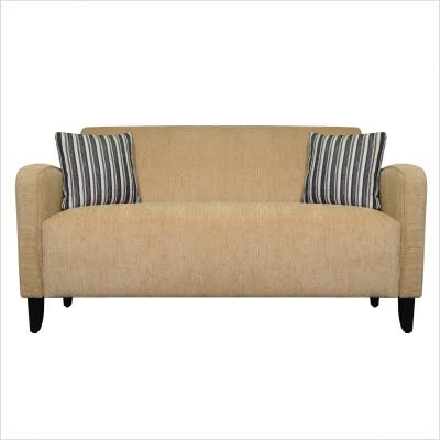Handy Living GRT-S41-SCH82 Gavin Curved Arm Chenille Microfiber Sofa, Beige with 2 Decorative Black Striped Throw Pillows