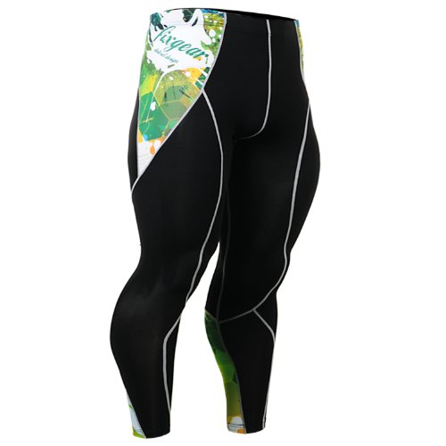 Fixgear Green Printing Spandex Compression Tights Pants Mens Womens S ~ 2XL