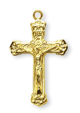 Crucifix Pendant Ornate, 14 Karat Gold Over Sterling Silver with Chain