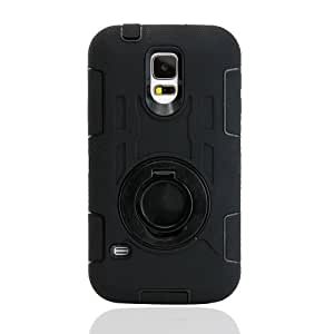 Gearonic Heavy Duty PC and Silicone Impact Rugged Hard Case Circular Stand for Samsung Galaxy S5 - Non-Retail Packaging - Black