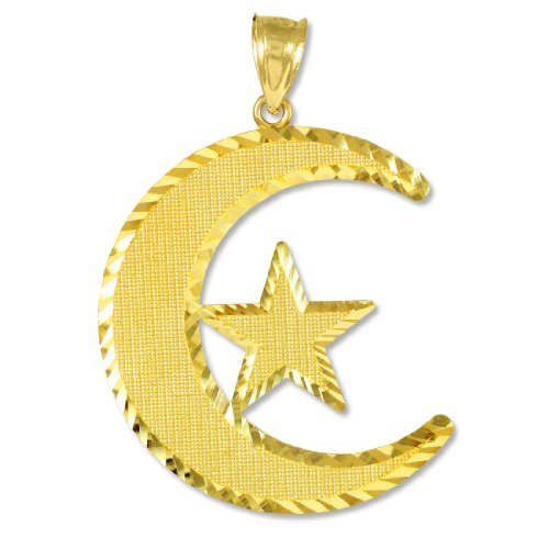 10k Gold Diamond-Cut Islamic Charm Crescent Moon and Star Pendant by Claddagh Gold