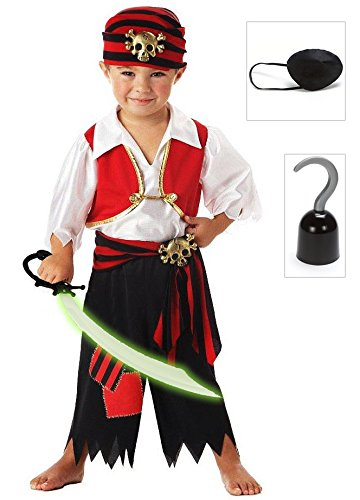 Ahoy Matey! Pirate Toddler Costume with Eye Patch, Hook and Sword