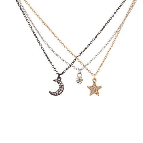 Lux Accessories Pave Charm BFF Best Friends Forever Necklace Gift Set