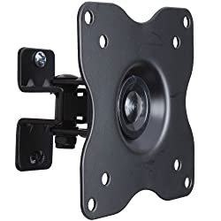 VideoSecu Adjustable Tilt Swivel Rotation TV Wall Mount Bracket for LCD LED TV and Monitor (Max 44 lbs, VESA 100/75) Black 1FF