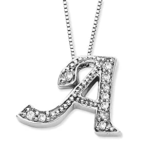"14K White Gold 0.12 ct. Diamond Initial ""A"" Pendant with Chain by Katarina"
