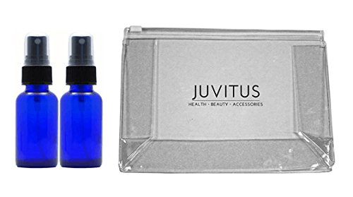 Cobalt Blue Glass Boston Round Spray Mister Bottle - 2 oz (2 Pack) Plus Clear Vinyl JUVITUS Travel Bag