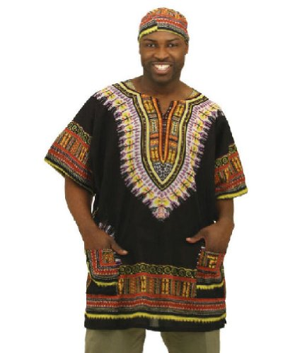 Traditional Print Unisex Dashiki - Many Colors Available  Black    Traditional Jamaican Clothing For Men